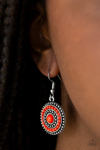 Rainbow Riviera - red - Paparazzi earrings