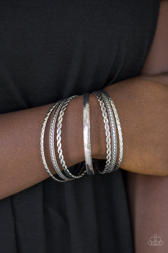 Rattle and Roll-silver-Paparazzi bracelet