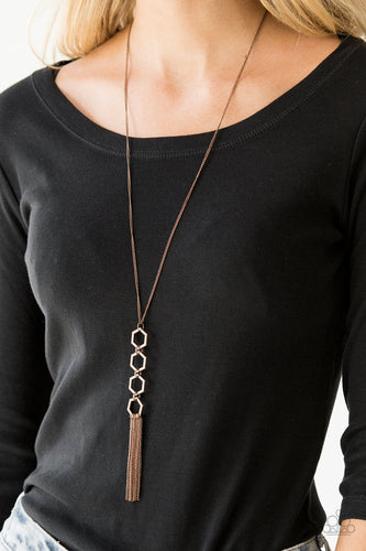 Ready, Set, GEO-copper-Paparazzi necklace