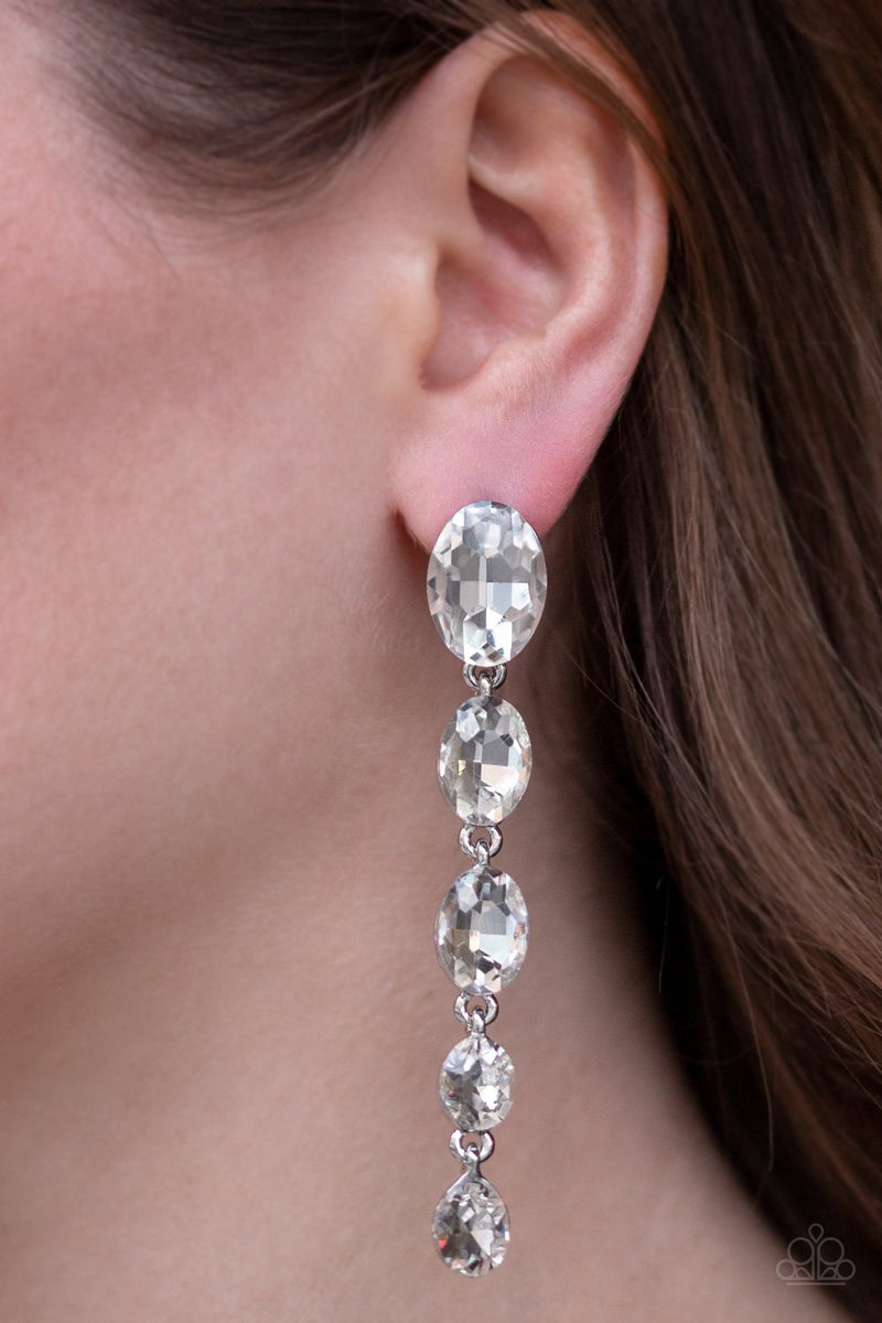 Red Carpet Radiance White Paparazzi Earrings