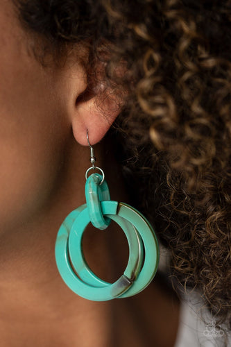 Retro Riviera-blue-Paparazzi earrings