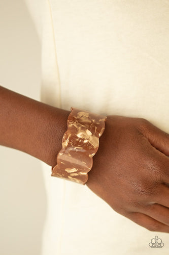 Retro Ruffle-brown-Paparazzi bracelet