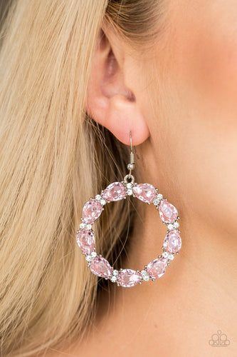 Ring Around the Rhinestones - pink - Paparazzi earrings
