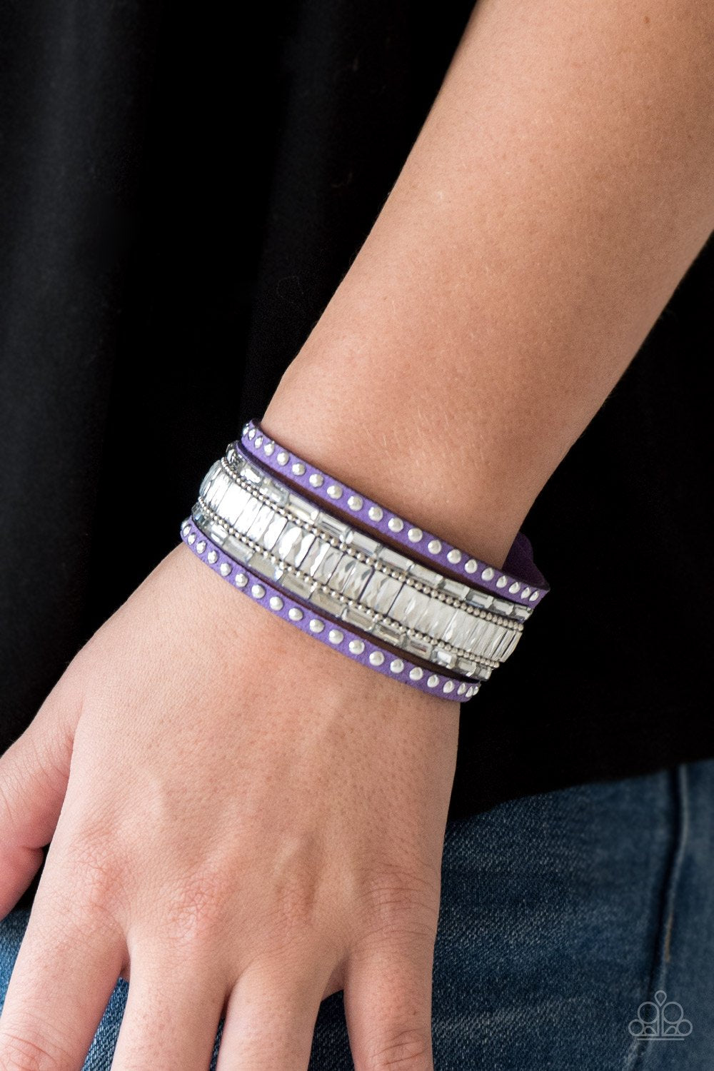 Rock Star Rocker-purple-Paparazzi bracelet