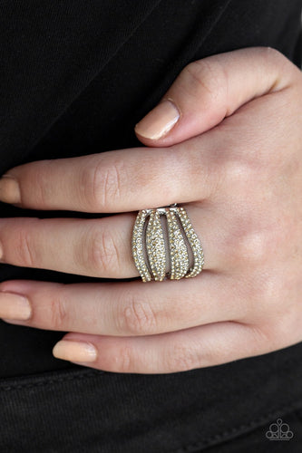 Roll Out the Diamonds-brown-Paparazzi ring