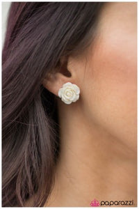Rose Garden - White - Paparazzi earrings