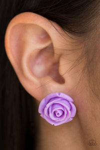Rose Roulette - purple - Paparazzi earrings