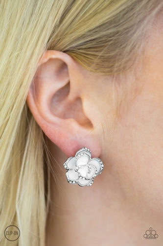 Rosebud Social - white - Paparazzi CLIP ON Earrings
