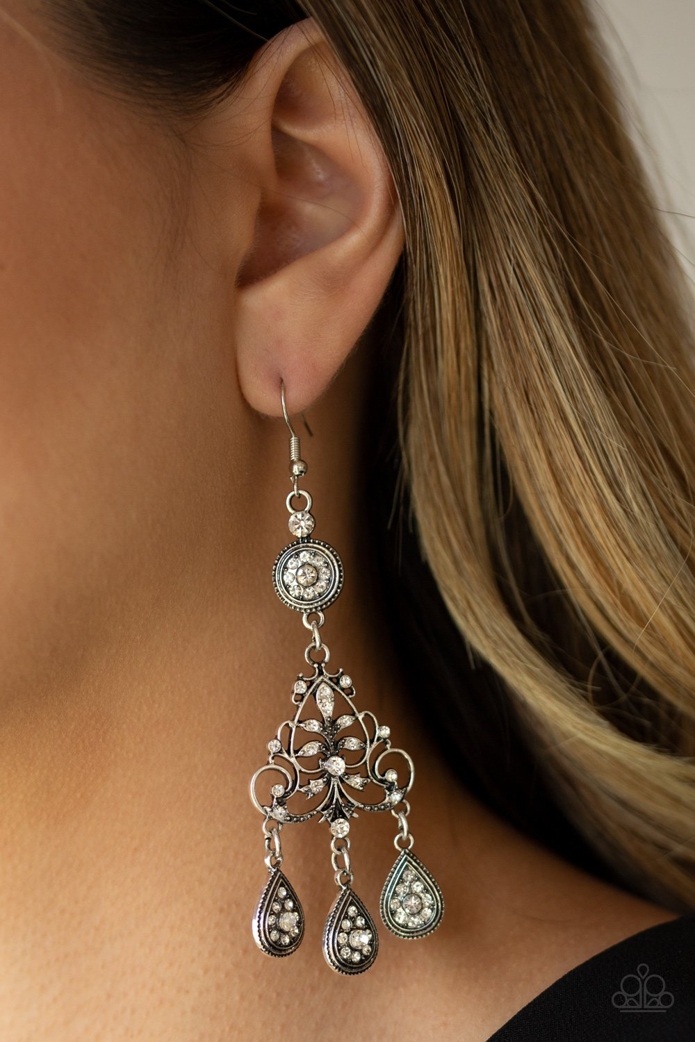 Royal Renovation - white - Paparazzi earrings