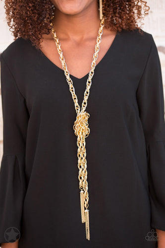 SCARFed for Attention - Gold - Paparazzi necklace