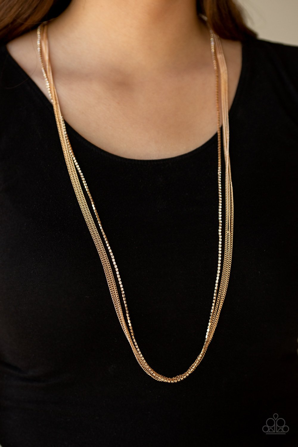 SLEEK and Destroy-gold-Paparazzi necklace