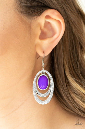 Seaside Spinster-purple-Paparazzi earrings
