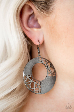 Shattered Shimmer-black-Paparazzi earrings