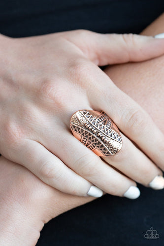 Shields Up-copper-Paparazzi ring