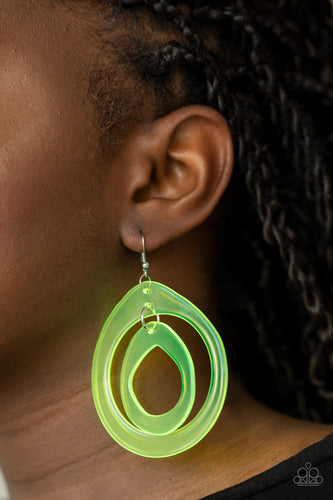 Show Your True NEONS - yellow - Paparazzi earrings