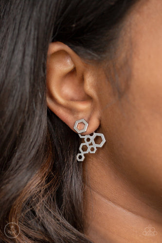 Six Sided Shimmer-silver-Paparazzi earrings