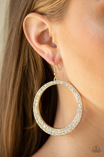 So Demanding-gold-Paparazzi earrings