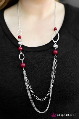 Somewhere Along The Line - Red - Paparazzi necklace