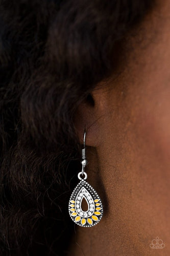 South Beach Sunsets - Yellow - Paparazzi earrings