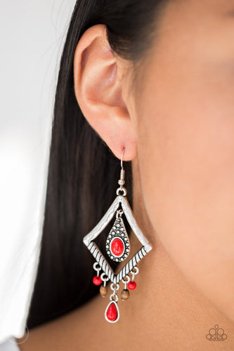 Southern Sunsets-red-Paparazzi earrings