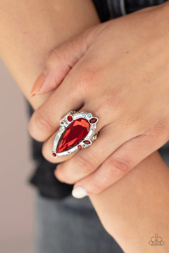 Sparkle Smitten-red-Paparazzi ring