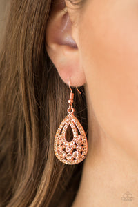 Sparkling Stardom - copper - Paparazzi earrings