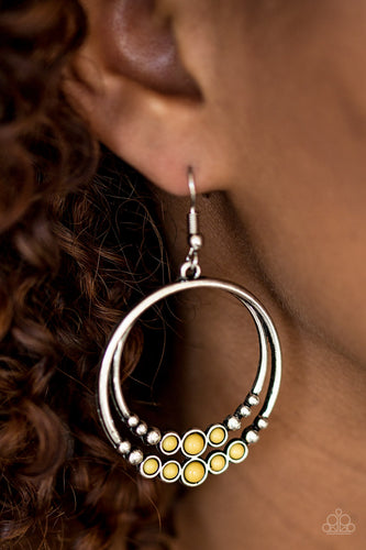 Spiraling Serenity - yellow - Paparazzi earrings