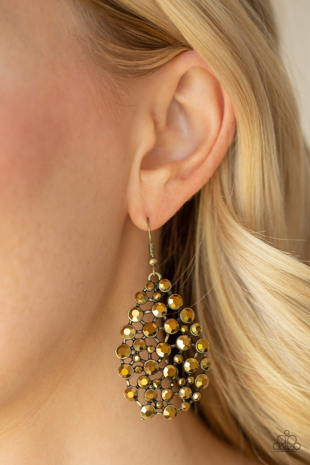 Start With a Bang - brass - Paparazzi earrings