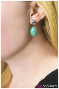 Stone Cliffs - Blue - Paparazzi earrings