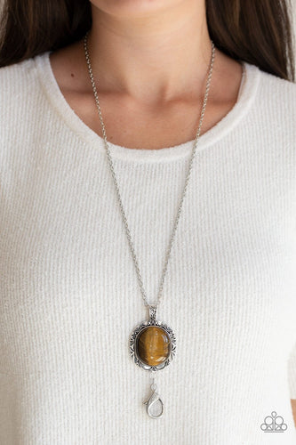Stone Aura-brown LANYARD-Paparazzi necklace