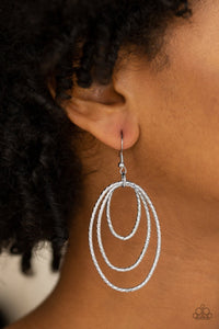 Strike Three - silver - Paparazzi earrings