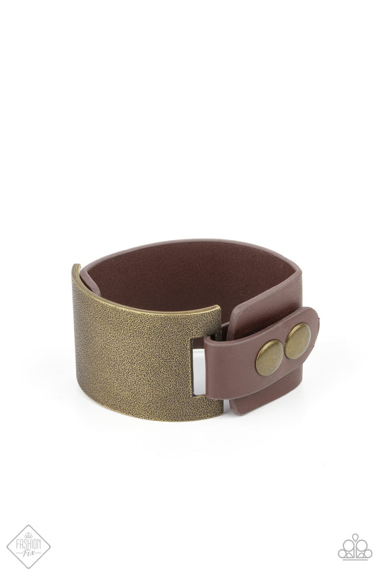 Paparazzi Accessories:  Studded Synchronism - Brass (2989)