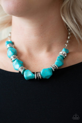 Stunningly Stone Age - blue - Paparazzi necklace