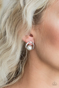 Stylishly Suave - white - Paparazzi earrings