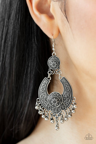 Sunny Chimes-silver-Paparazzi earrings