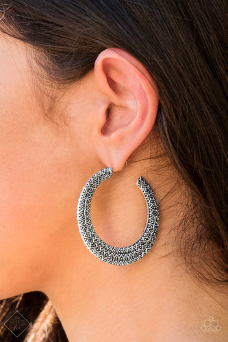 Talk About Texture - silver - Paparazzi Hoop earrings