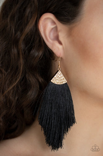 Tassel Tempo-gold-Paparazzi earrings
