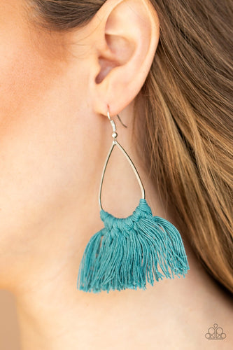 Tassel Treat-blue-Paparazzi earrings