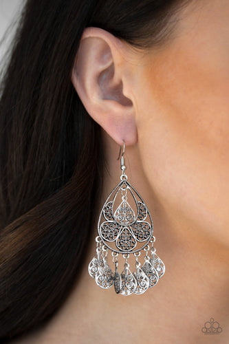 Teardrop Tempo-silver-Paparazzi earrings