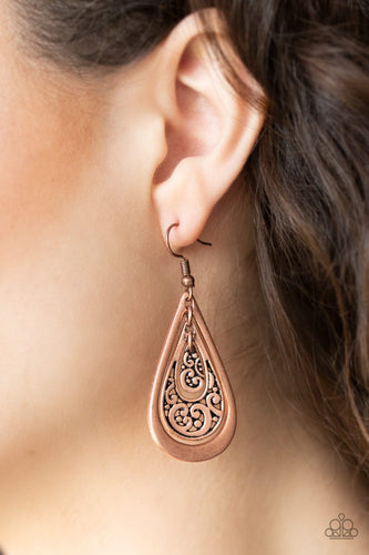 Teardrop Tourist-copper-Paparazzi earrings