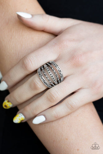 Textile Bliss-silver-Paparazzi ring