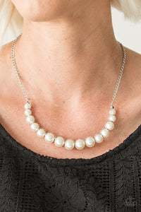 The Fashion Show Must Go On - white - Paparazzi necklace