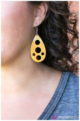 The Hole Picture - yellow - Paparazzi earrings