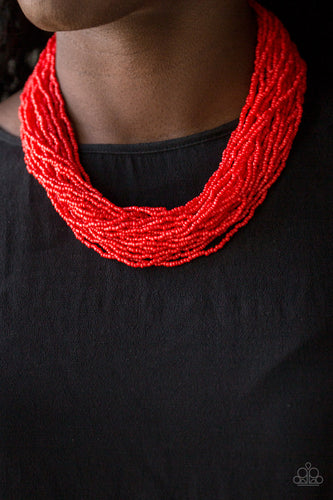 The Show Must Congo on - red - Paparazzi necklace