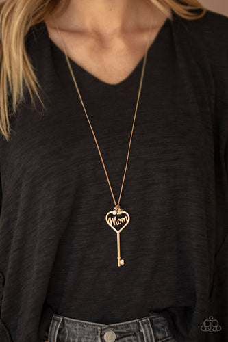 The Key to Moms Heart-gold-Paparazzi necklace