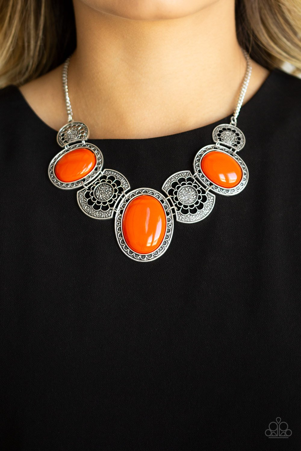 The MEDALLION-aire-orange-Paparazzi necklace
