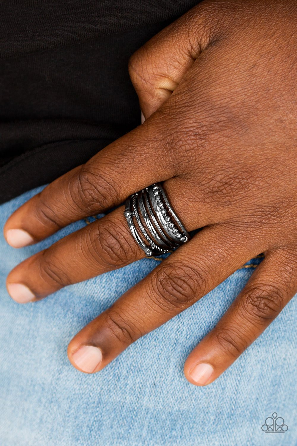 The Steel of Night-black-Paparazzi ring