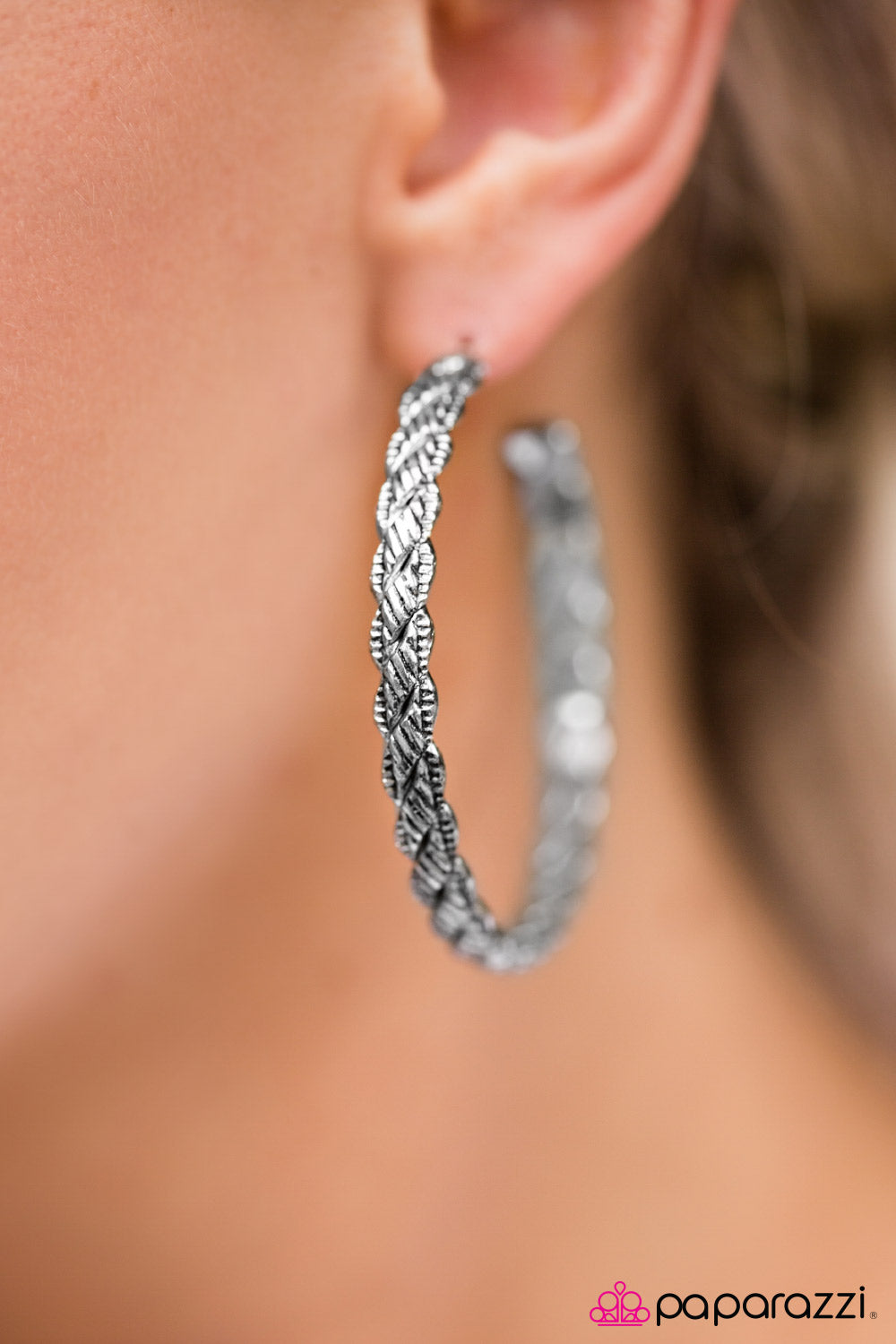 Thrown For A HOOP - Silver - Paparazzi earrings