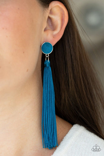 Tightrope Tassel-blue-Paparazzi earrings