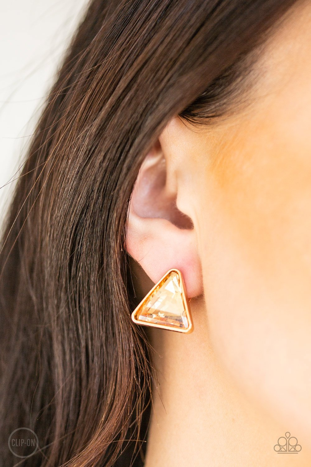 Timeless In Triangles-gold-Paparazzi earrings